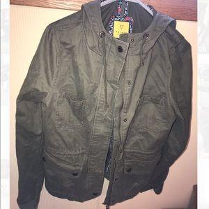 Green hooded utility jacket